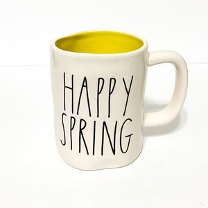 RAE DUNN HAPPY SPRING Mug Yellow Interior